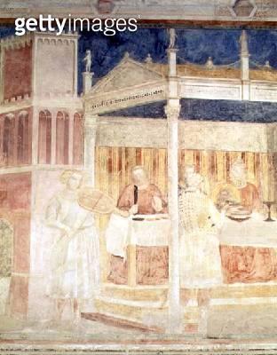 <b>Title</b> : Herod's Banquet, detail of the violinist, from the Peruzzi chapel (fresco) (detail of 63332)<br><b>Medium</b> : fresco<br><b>Location</b> : Santa Croce, Florence, Italy<br> - gettyimageskorea