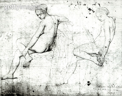 <b>Title</b> : Study for the Turkish Bath (graphite on paper) (b/w photo)Additional InfoEtude pour le Bain turc;<br><b>Medium</b> : <br><b>Location</b> : Musee Bonnat, Bayonne, France<br> - gettyimageskorea