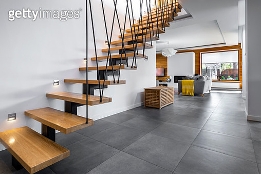Modern interior design - stairs in wooden finishing - gettyimageskorea