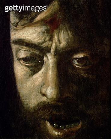 <b>Title</b> : David with the Head of Goliath, detail of the head, 1606 (oil on canvas) (detail of 100349)<br><b>Medium</b> : <br><b>Location</b> : Galleria Borghese, Rome, Italy<br> - gettyimageskorea