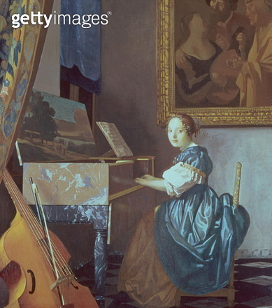 A Young Lady Seated at a Virginal, c.1670 (oil on canvas) - gettyimageskorea