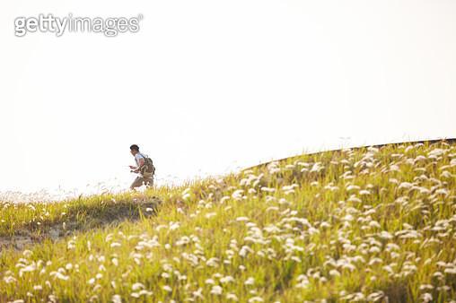 초원에서 트래킹하는 남자 - gettyimageskorea