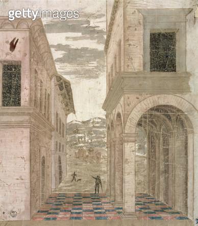<b>Title</b> : Architectural Capriccio, a study in perspective (pen & ink with wash on paper)<br><b>Medium</b> : <br><b>Location</b> : Gabinetto dei Disegni e Stampe, Uffizi, Florence, Italy<br> - gettyimageskorea