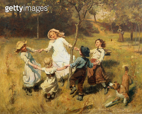 <b>Title</b> : Ring-a-Ring-a-Roses-Oh (oil on canvas)<br><b>Medium</b> : oil on canvas<br><b>Location</b> : Towneley Hall Art Gallery and Museum, Burnley, Lancashire<br> - gettyimageskorea