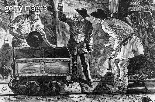 <b>Title</b> : Scene in a coal mine, illustration from 'Germinal' by Emile Zola (1840-1902), 1886 (engraving) (b/w photo)Additional Infonovel p<br><b>Medium</b> : <br><b>Location</b> : Bibliotheque Nationale, Paris, France<br> - gettyimageskorea