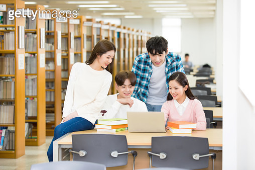 Korean, college student, university, library, smile, study - gettyimageskorea