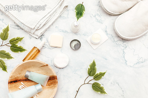 Organic spa cosmetic on marble background - gettyimageskorea
