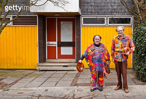 Elderly Couple in eccentric outfits - gettyimageskorea