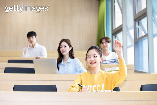 Koreans, college students, campus (university), classroom, during class (education), smile, - gettyimageskorea