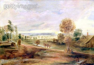 Landscape with Farm Buildings: Sunset/ 17th century (oil on panel) - gettyimageskorea