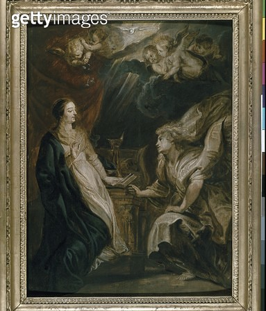 <b>Title</b> : The Annunciation (oil on panel)<br><b>Medium</b> : oil on panel<br><b>Location</b> : Ashmolean Museum, University of Oxford, UK<br> - gettyimageskorea