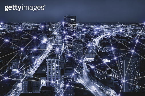 smart city and wireless communication network, Boston cityscape. Boston view in the business district, abstract image visual, internet of things concept. - gettyimageskorea