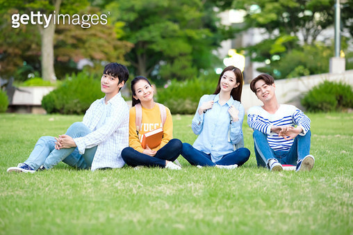 Korean, college student, campus (university), lawn, smile, sitting (body posture) - gettyimageskorea