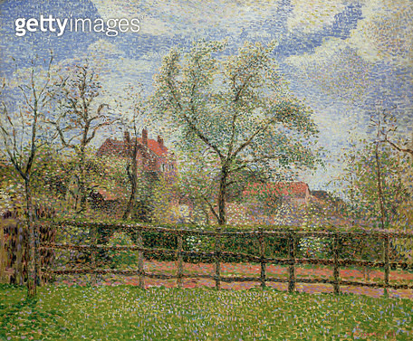 <b>Title</b> : Pear Trees and Flowers at Eragny, Morning, 1886 (oil on canvas)<br><b>Medium</b> : oil on canvas<br><b>Location</b> : Private Collection<br> - gettyimageskorea