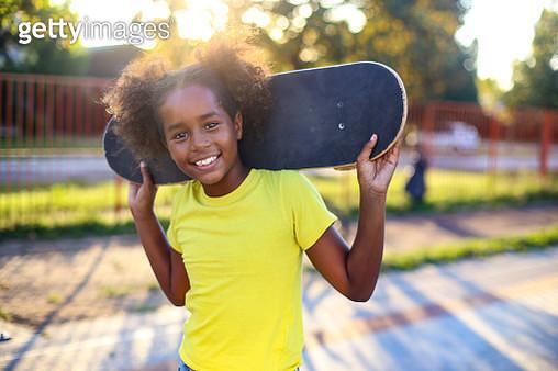 Fun with a skateboard - gettyimageskorea