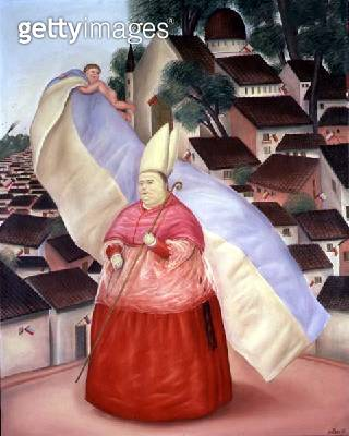 <b>Title</b> : The Bishop of Bogota, 1971 (oil on canvas)<br><b>Medium</b> : oil on canvas<br><b>Location</b> : Private Collection<br> - gettyimageskorea