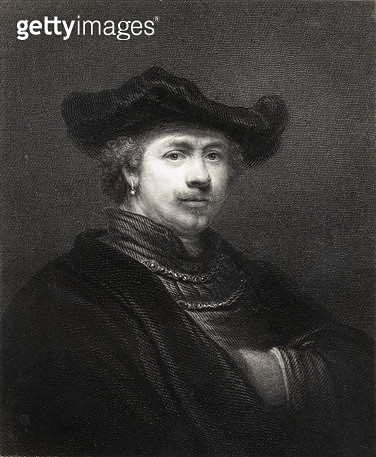 <b>Title</b> : Rembrandt Harmens van Rijn (1606-69) from 'The Gallery of Portraits', published 1833 (engraving)<br><b>Medium</b> : <br><b>Location</b> : Private Collection<br> - gettyimageskorea