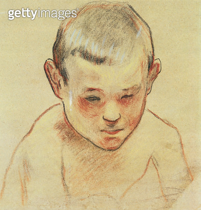 <b>Title</b> : Head of a Boy, c.1886-88 (pastel, w/c on paper)<br><b>Medium</b> : pastel and watercolour on paper<br><b>Location</b> : Private Collection<br> - gettyimageskorea
