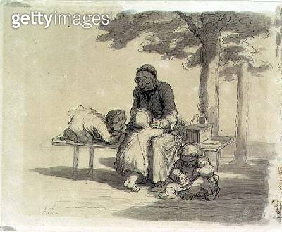 <b>Title</b> : A Grandmother (grey wash and pen & ink on paper)<br><b>Medium</b> : grey wash and pen and ink on paper<br><b>Location</b> : Private Collection<br> - gettyimageskorea