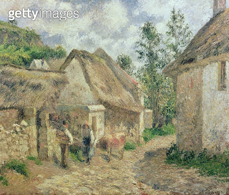 A Street in Auvers (Thatched Cottage and Cow) - gettyimageskorea