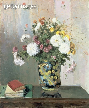 Bouquet of Flowers/ Chrysanthemums in a Chinese Vase (oil on canvas) - gettyimageskorea