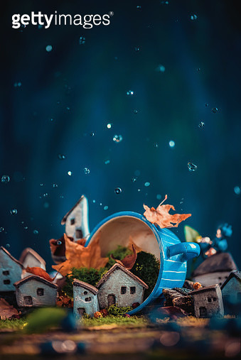 Miniature village in a ceramic cup, tiny world concept. Ceramic town DIY with moss and leaves - gettyimageskorea