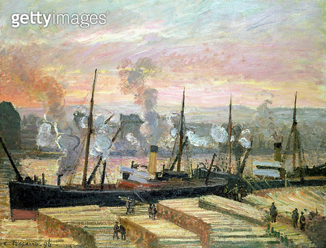 <b>Title</b> : Sunset at Rouen, Boats Unloading Wood, 1896 (oil on canvas)<br><b>Medium</b> : oil on canvas<br><b>Location</b> : Private Collection<br> - gettyimageskorea