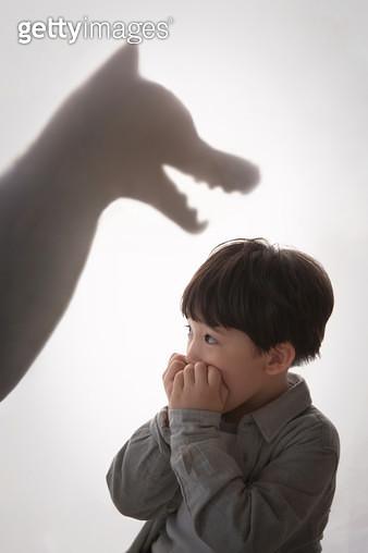 그림자 놀이 하는 남자 어린이 - gettyimageskorea