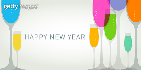New Year Greeting with Champagne glasses - gettyimageskorea