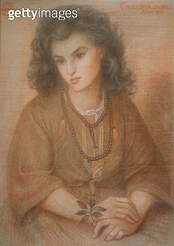 <b>Title</b> : Calliope Coronio, after Dante Gabriel Rossetti, 1869 (pastel on paper)<br><b>Medium</b> : pastel on paper<br><b>Location</b> : Private Collection<br> - gettyimageskorea