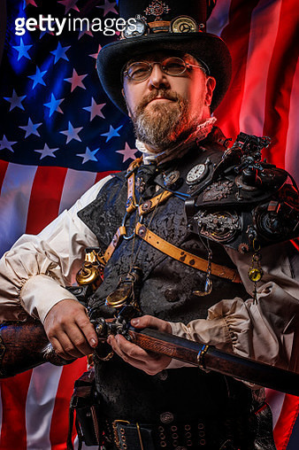 Steampunk male military character with the stars and stripes - gettyimageskorea