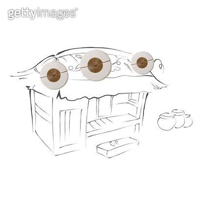 초가집 지붕에 달린 박들 - gettyimageskorea