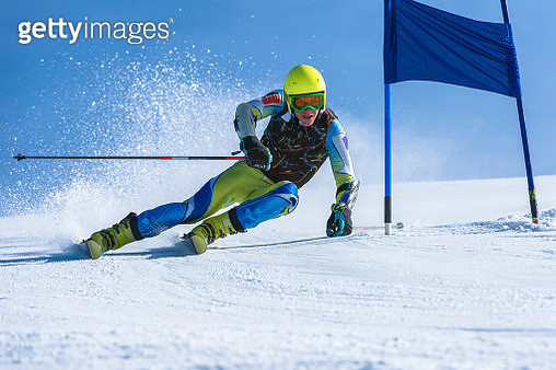Young Man Practicing Giant Slalom - gettyimageskorea