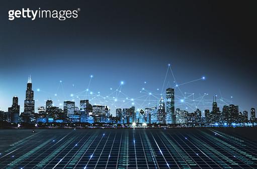 백그라운드, 도시, 고층빌딩 (회사건물), 건물외관 (건설물), 스마트시티, 4차산업혁명, 빅데이터, 첨단기술, 컴퓨터네트워크 (컴퓨터장비), 무선기술 (기술) - gettyimageskorea