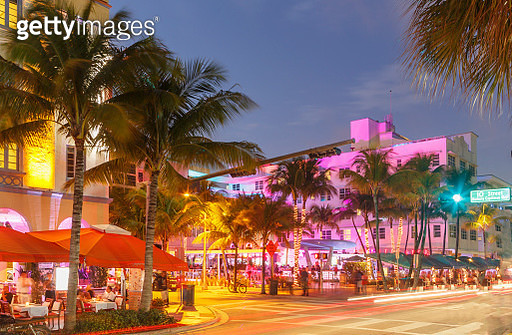 Neon lights on buildings in Ocean Drive, Miami Beach, Florida, USA - gettyimageskorea