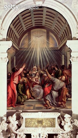 <b>Title</b> : Pentecost (oil on canvas)<br><b>Medium</b> : <br><b>Location</b> : Santa Maria della Salute, Venice, Italy<br> - gettyimageskorea