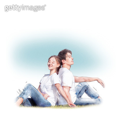 그래픽이미지 (Computer Graphics), 합성, 커플 (인간관계), 행복, 사랑 (컨셉), 스킨십 (밝은표정), 함께함 (컨셉) - gettyimageskorea