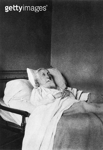 <b>Title</b> : Edgar Degas (1834-1917) on his Deathbed, 1917 (b/w photo)<br><b>Medium</b> : black and white photograph<br><b>Location</b> : Private Collection<br> - gettyimageskorea