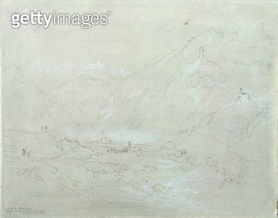 <b>Title</b> : Mountainous Landscape with Town in Valley, c.1840 (graphite & grey wash on paper)<br><b>Medium</b> : graphite and grey wash on paper<br><b>Location</b> : Yale Center for British Art, Yale Art Gallery Collection<br> - gettyimageskorea