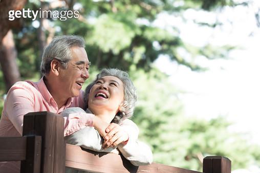 소나무 숲길에서 대화하는 노인 부부 - gettyimageskorea