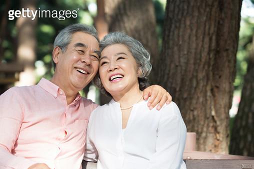 소나무 숲길에서 의자에 앉아 대화하는 노인 부부 - gettyimageskorea
