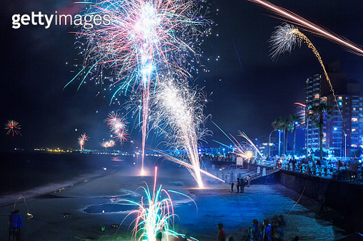Fireworks in Piriapolis, new year's day 2016, Uruguay - gettyimageskorea