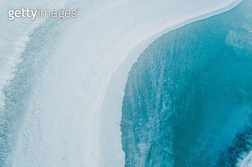 Drone shot above a salt lake, South Australia - gettyimageskorea