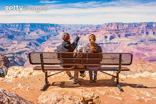 Family looking at view Grand Canyon National Park USA - gettyimageskorea