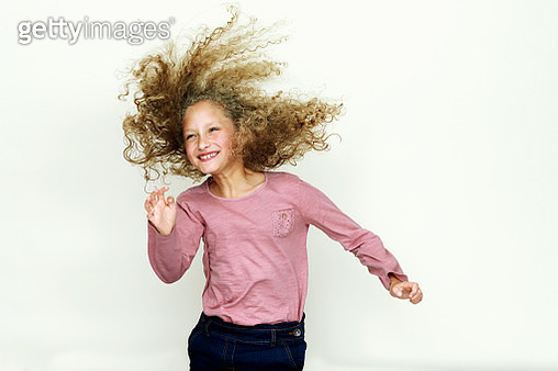 Portrait of girl jumping - gettyimageskorea