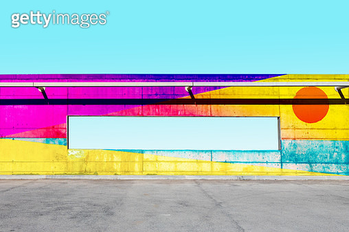 Beautiful colorful artwork paint in concrete wall with sky window. - gettyimageskorea