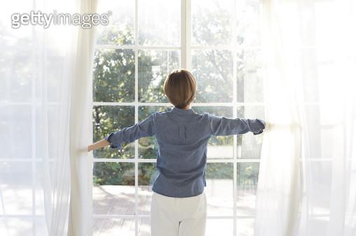 거실창 앞에서서 커튼을 여는 젊은여자의 뒷모습 - gettyimageskorea