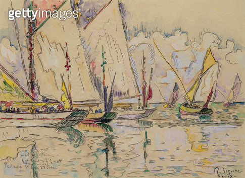 <b>Title</b> : Departure of Three-Masted Boats at Croix-de-Vie (w/c on paper)Additional InfoLe Depart des Trois-Mats a Croix-de-Vie en Vendee;<br><b>Medium</b> : watercolour on paper<br><b>Location</b> : Musee Marmottan, Paris, France<br> - gettyimageskorea