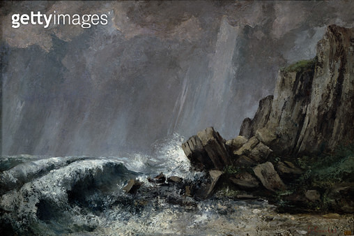 <b>Title</b> : Downpour at Etretat (oil on canvas)<br><b>Medium</b> : oil on canvas<br><b>Location</b> : Musee des Beaux-Arts, Dijon, France<br> - gettyimageskorea