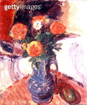 Still Life with Blue Jug and Flowers (oil on canvas) - gettyimageskorea